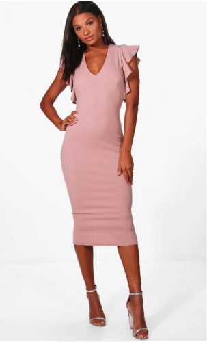 Frill Sleeve Plunge Midi Dress e1603717246498 | Jsobs