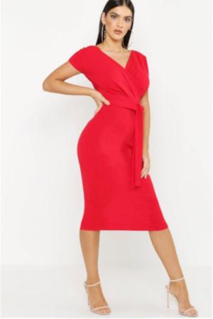 Off The Shoulder Wrap Midi Dress 1 | Jsobs